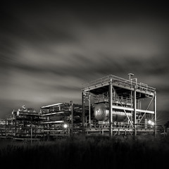 Critical Infrastructure II (Jeff Gaydash) Tags: longexposure blackandwhite night square rouge industrial michigan marathon detroit refinery criticalinfrastructure