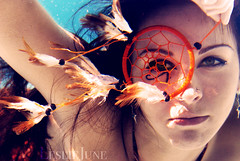 a dream, deferred (leslie.june) Tags: blue orange birds amber underwater feathers surreal floating dreams tones dreamcatcher eyeofhorus underwaterphotography lucidity luciddreaming lesliejunecom lesliejuneunderwater aquaticphotos