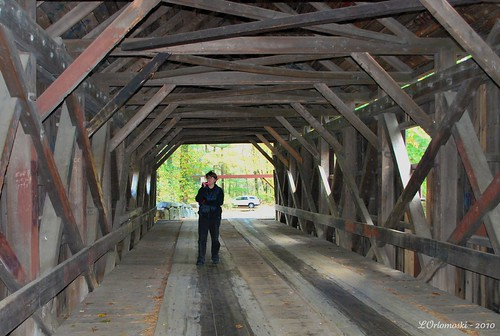 Jamie inside the Lovejoy Covered Bridge