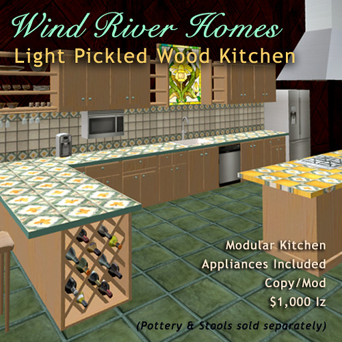 Modular Kitchen in Light Pickled Wood with tile