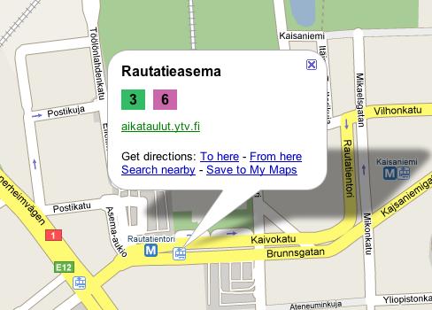Helsinki transit information on Google Maps