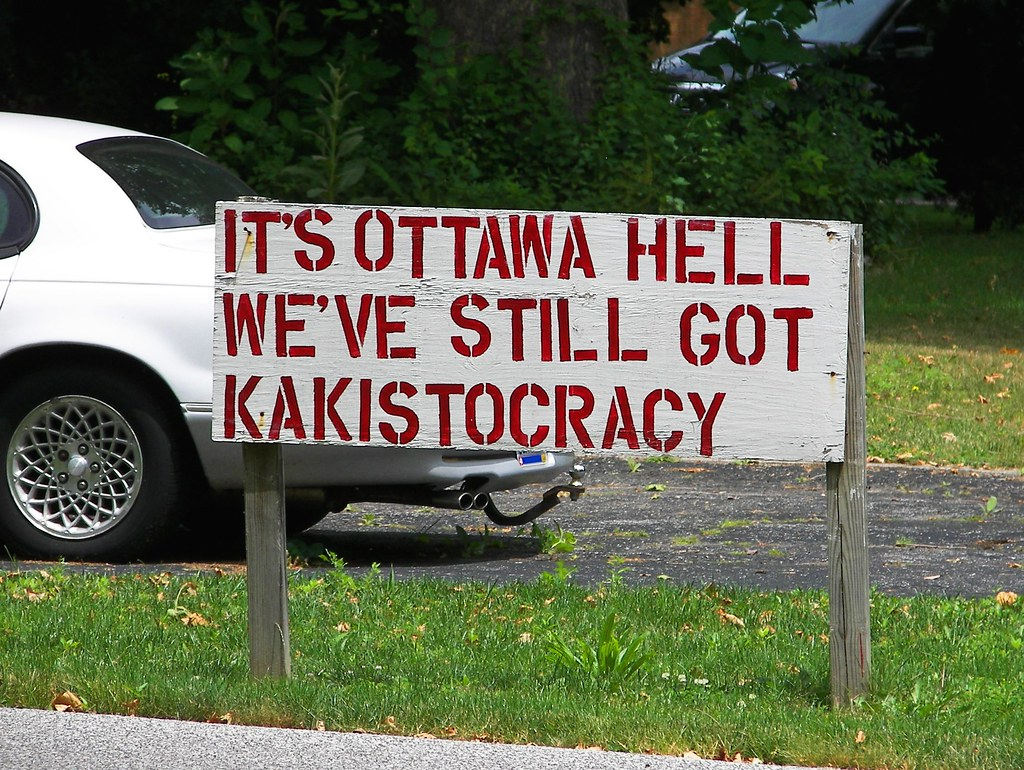 Sign in Ottawa Hills reading OTTAWA HELL WE'VE STILL GOT KAKISTOCRACY