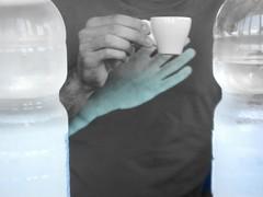 PECCATO?mea culpa... (SalentuCore) Tags: blackandwhite water coffee bottle hands hand mani mano acqua biancoenero caffe bottiglie