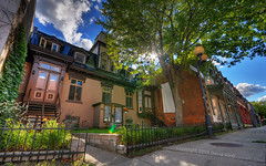 The Houses of de Grand-Pr Street | Montreal, Canada | HDR | davidgiralphoto.com (David Giral | davidgiralphoto.com) Tags: street old blue houses summer sky sun canada de nikon afternoon cloudy quebec plateau montreal sigma sunny d200 typical 1020mm rue montroyal hdr sigma1020mm 10mm photomatix sigma1020 grandpr nikond200 7xp tthdr copyrightdgiral davidgiral