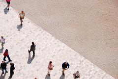 People and a diagonal (Peekabokeh) Tags: people france sand pavement fromabove diagonal chambord chateaudechambord
