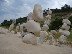 North Gallery (farlane) Tags: sculpture art beach rock found sand gallery michigan lakemichigan frankfort benzie frankfortrockgallery