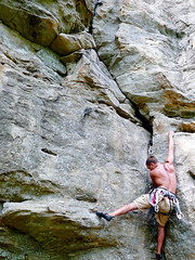 Andy on Puppet Master (mike.palic) Tags: rock illinois southern climbing pro leading trad bluff drapers plugging
