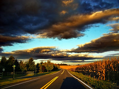 Drive-Through (Nicholas_T) Tags: road summer sky clouds rural driving dusk pennsylvania creativecommons lehighvalley stratocumulus lehighcounty