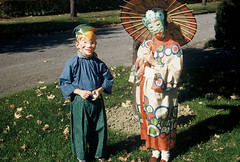 Halloween costumes, Oct 1954 (lreed76) Tags: halloween reed trickortreat 1954 nostalgia 1950s kodachrome halloweencostumes warrenoh