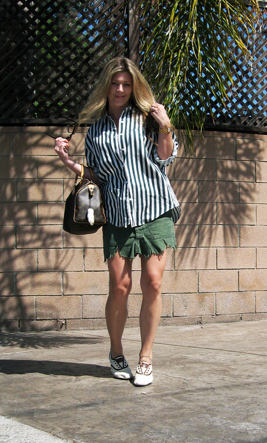 striped button down+DIY cargo skirt+TOMS shoes+Louis Vuitton speedy, tom ford anouk sunglasses, cat eye sunglasses