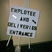 Employee and deliveries entrance sign