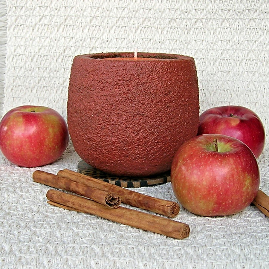 Apple Harvest scented natural palm wax filled sand pot candle unwrapped