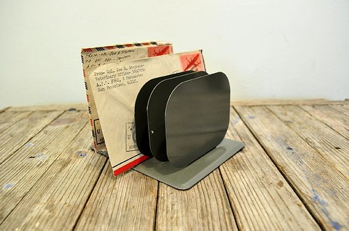 Vintage Metal Letter Holder Office