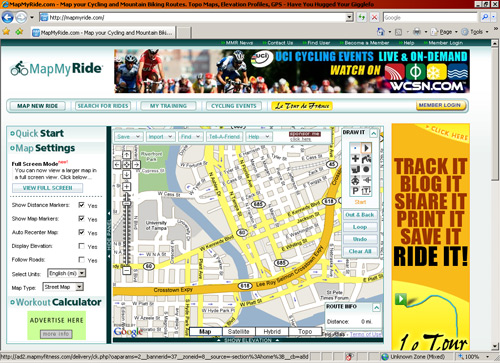 Mapmyride.com screenshot