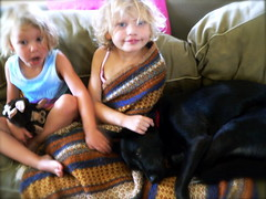Annika with puppy, Frankie with feeling