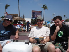 Jay, Reed, and me, at the racetrack