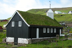 Church - Faroe Islands (erik_fo_dk) Tags: whitewindows suuroy woodenwalls flatak blackwalls whitesteeple porkeriskirkja porkeri squaresteeple diagonalsteeple