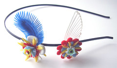 Blue, Red, Yellow and White Vintage Flowers Headband