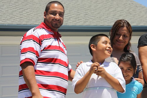 Lucio & Karina Salazar receive the keys to their new home in Reedley, Calif.  The family spent 9 months working with 10 other families to build their house and other homes through USDA's Self Help Housing Program.