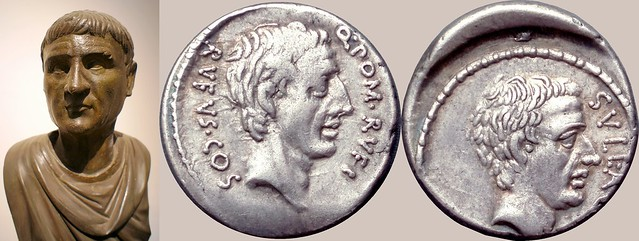 54BC 434/1 coin of Publius Cornelius Sulla with Pompeius Rufus, together with a portrait statue of Sulla