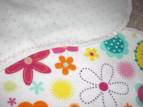 baby girl burp rags - zig zag stitching