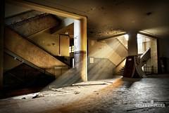 Abandoned university (Urban-explora.com) Tags: school urban abandoned stairs canon lights hall university decay sigma hallway stairway staircase urbanexploration rays exploration urbex 1530mm 40d scavo urbanexploracom scavo75
