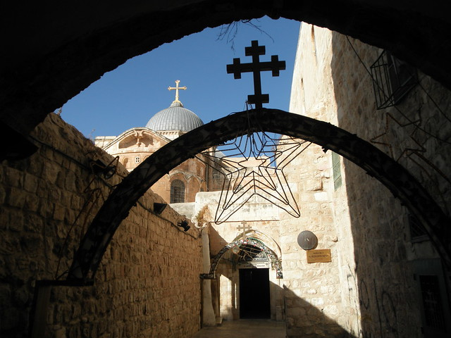Station 9 Via Dolorosa and the Church in Background