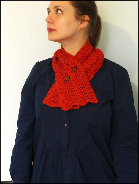 feather and fan scarflette in orange