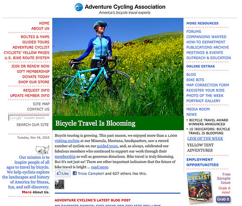 Screen shot Adventure Cycling home page