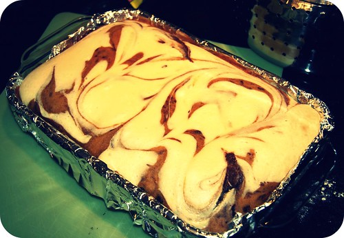 pumpkin cream cheese brownies in pan