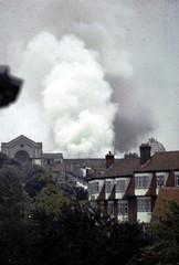 Alexandra Palace burning, North London 1980 (beareye2010) Tags: london fire destruction smoke burning alexandrapalace muswellhill allypally northlondon grosvenorroad