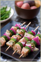 Swordfish Skewers (La tartine gourmande) Tags: red summer food herbs bbq onion zucchini savory marinade swordfish skewers latartinegourmande