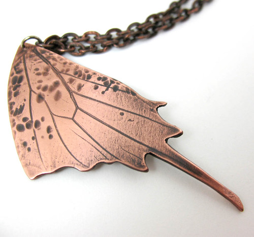 Butterfly Wing -- jewelry necklace butterfly pendant metal copper wing print hamered real tigerlily