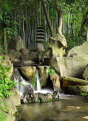 the garden (Dan65) Tags: green water pool rock japan stone garden japanese waterfall pond stream bamboo explore 106 lantern okayama korakuen  flickrsbest
