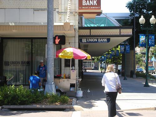 finger on SW corner of 13th & O street, Lincoln Ne