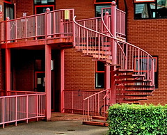 red stairs (Harry Halibut) Tags: park street red green metal stairs spiral fire office university technology escape howard sheffield science images row stairway hedge access allrightsreserved hallam paternoster sheffieldbuildings imagesofsheffield andrewpettigrew sheffieldarchitecture