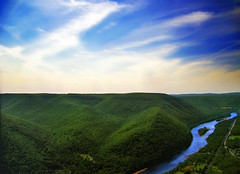 Up and Down (Nicholas_T) Tags: summer sky mountains clouds river landscape lowlight pennsylvania creativecommons cirrus susquehannariver appalachianmountains clintoncounty pennsylvaniawilds sproulstateforest alleghenyplateau hynerviewstatepark westbranchsusquehannariver