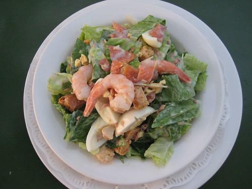 Salmon and Prawn Caesar Salad