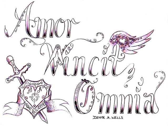 """Love Conquers All"" Tattoo Design by Denise A. Wells. Amor Vincit Omnia"