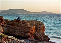 Lady in blue (Katarina 2353) Tags: travel sea summer vacation sun holiday love film tourism beach water rock greek photography dawn nikon waves sundown image pair greece rhodes rodhos katarinastefanovic katarina2353