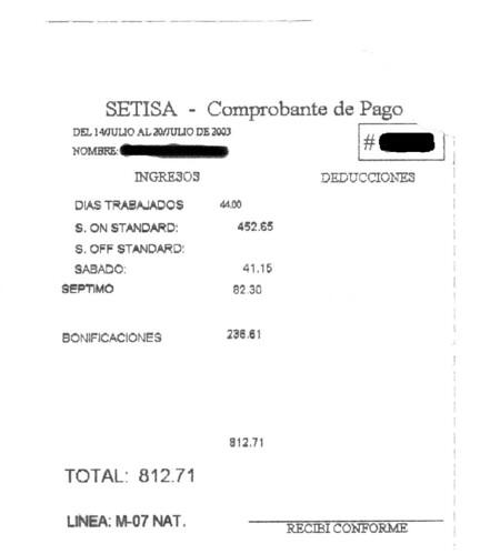 SETISA pay stub