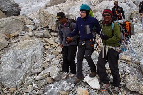 Aiding a tired climber