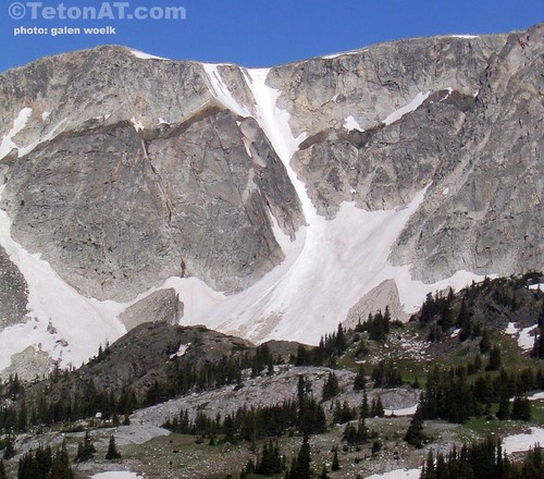 Airline Couloir still holding snow in the Snowy Range in Southeastern Wyoming