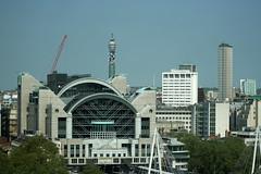 Charing Cross Station (Turkinator) Tags: city blue white london station crane londoneye bttower charingcross centrepoint