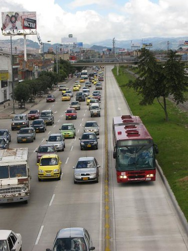 Transmilenio on the freeway