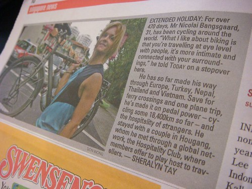 WT in Singapore's Today newspaper...26th July 2007.