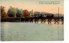 1912-Trolley Bridge to Island Park-Easton PA (Peachhead (4,000,000 views!)) Tags: park bridge trolley nj pa transportation amusementpark lehighvalley phillipsburg easton islandpark lehighriver eastonpa northamptoncounty electrictrolley eastontransitcompany