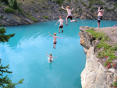 Greggins Sequence Two (I voted for Kodos) Tags: blue summer cliff lake canada mountains cold water jump jumping stitch abraham cliffs alberta sequence clone cliffjumping photostitch glacial abrahamlake cliffjump