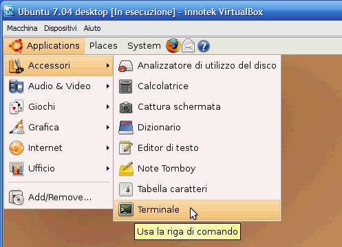 Fig. 2 - Ubuntu Guest Addition - avvio della shell