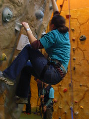 Serena tries the overhang (anakiwa_forever) Tags: newzealand aqua wellington serena rockclimbing overhang guiding girlguides fergs inthelead